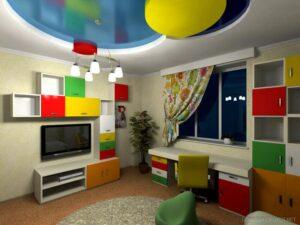 Фото натяжных потолков в детской комнате