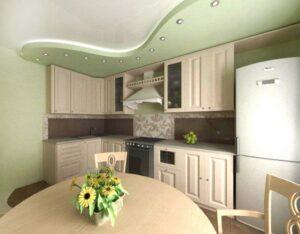 Фото натяжные потолки в кухню
